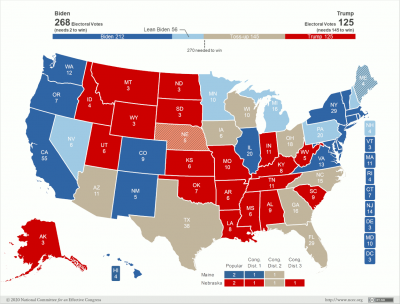 Map of the US showing states that support Joe Biden, and their electoral vote totals.